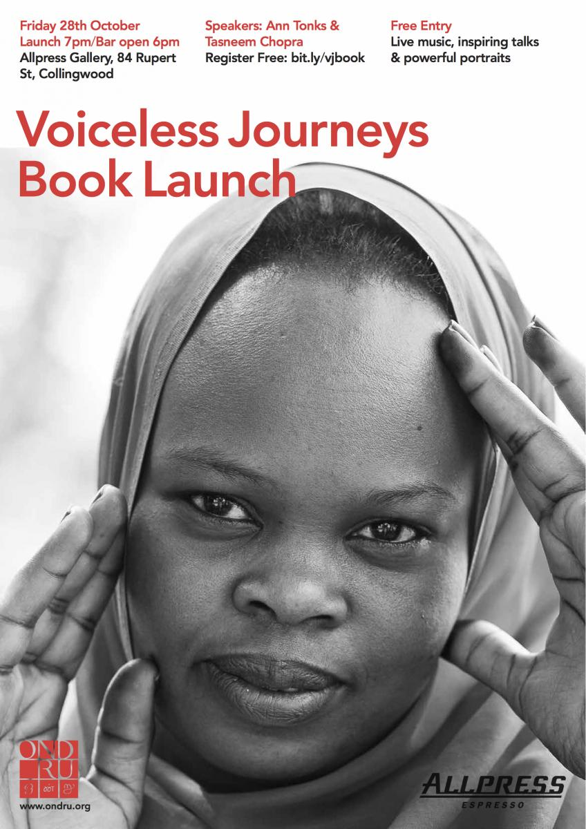 Voiceless Journeys Book Launch Poster